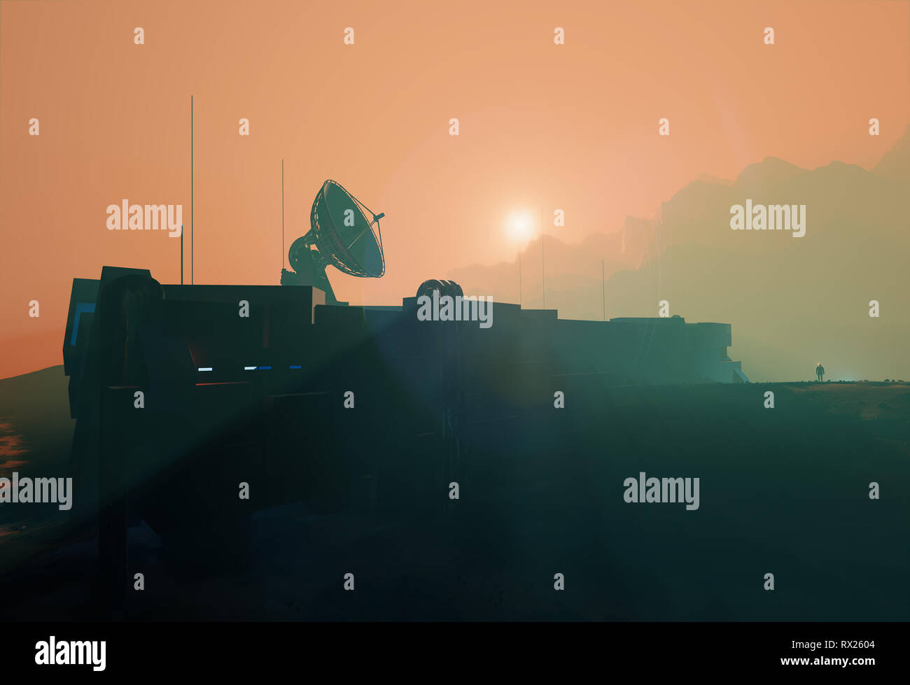 Space base radar dish in planet Mars misty sunset,  3d illustration landscape Stock Photo
