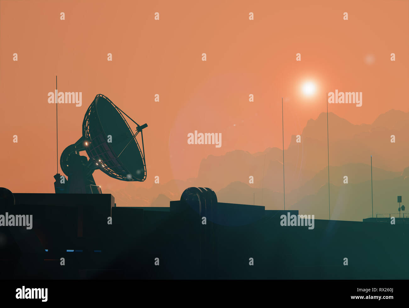 Satellite antenna dish silhouette of the space base on Mars, 3d illustration Stock Photo