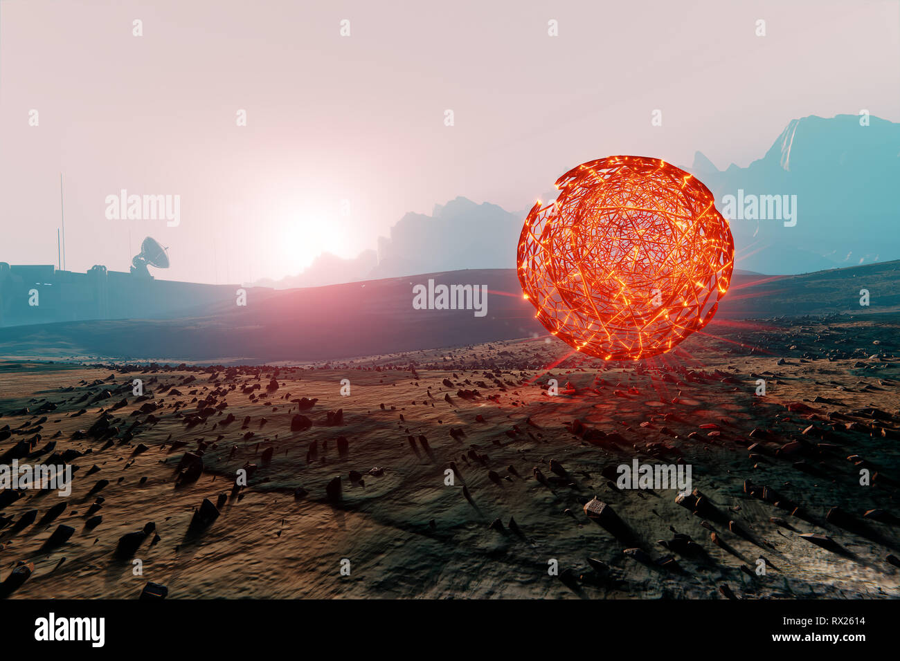 Landscape of Mars, floating spherical structure of unknown  energy, 3d illustration - Stock Image