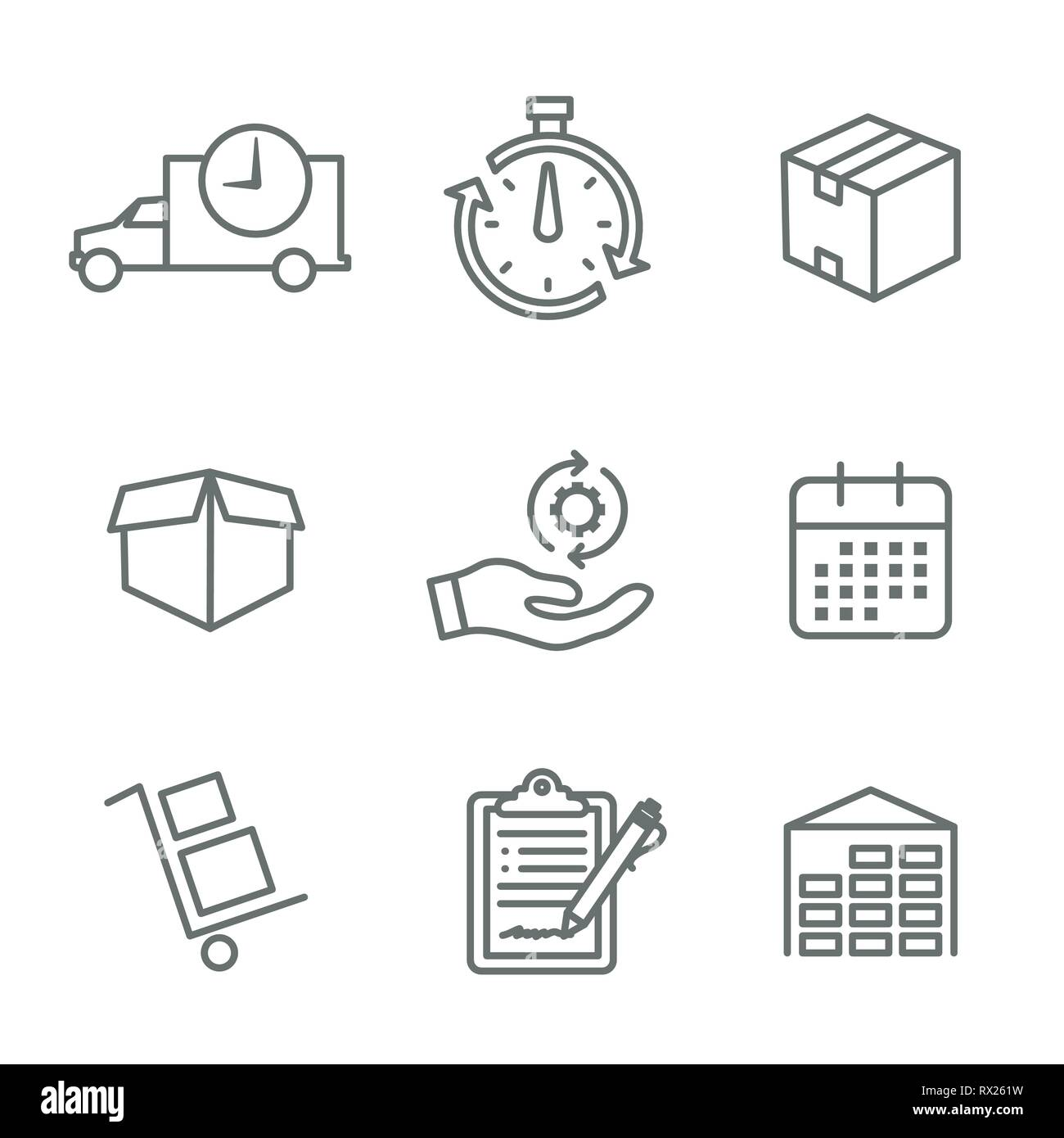 Shipping and Receiving Icon Set w Boxes, Warehouse, checklist, etc Stock Vector