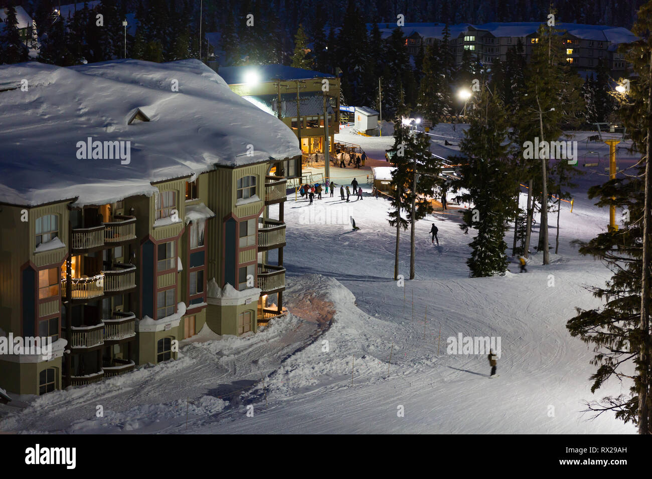 Slopeside accommodation at Bear and Deer Lodge allow for quick access to ski runs on Mt. washington, The Comox Valley, Vancouver Island, British Colum - Stock Image