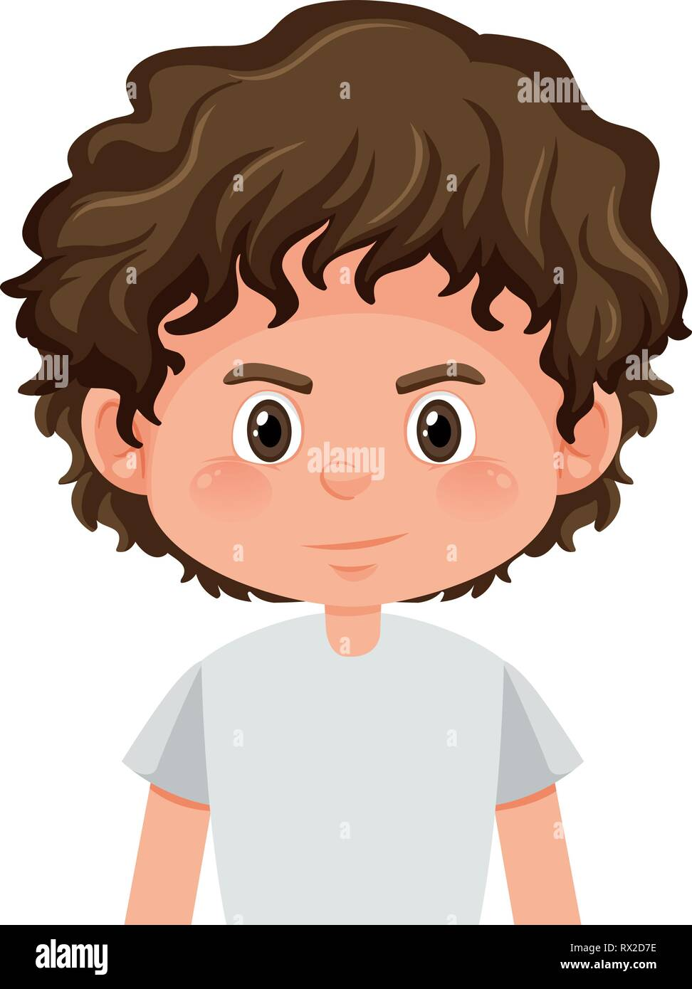 A Curly Hair Boy Character Illustration Stock Vector Image Art