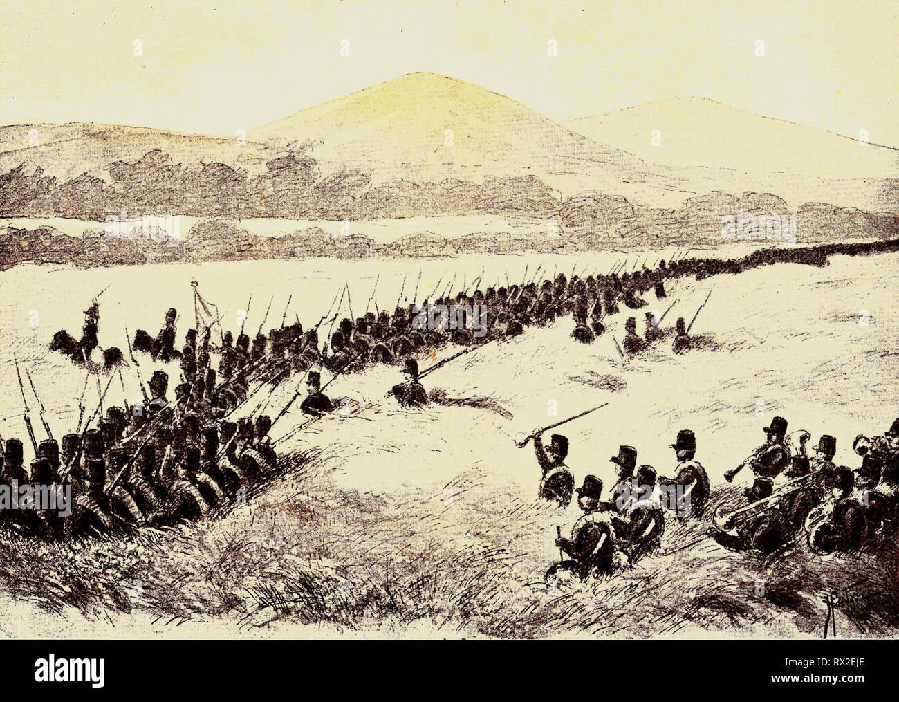 The Dutch 7th Battalion advancing in Bali in 1846. - Stock Image