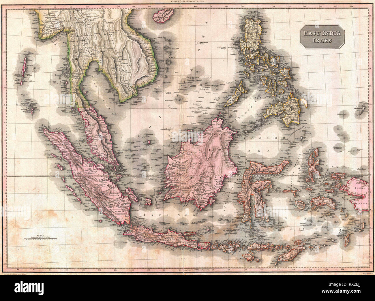 Pinkerton's extraordinary 1818 map of the East Indies. Covers from Burma south to Java and from the Andaman Islands eastward as far as the Philippines and New Guinea. Includes the entire Malay Peninsula, much of Southeast Asia (Thailand, Cambodia, Vietnam), Sumatra, Java, Borneo and the Philippines. Stock Photo