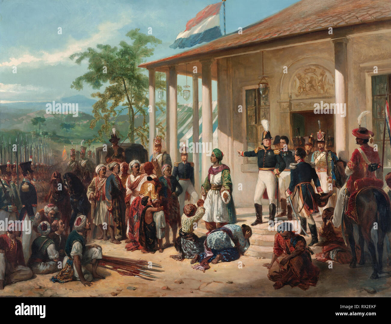 The Arrest of Diepo Negoro by Lieutenant-General Baron De Kock, 28 March 1830, which ended the Java War (1825-1830) - Nicolaas Pieneman, 1835 - Stock Image
