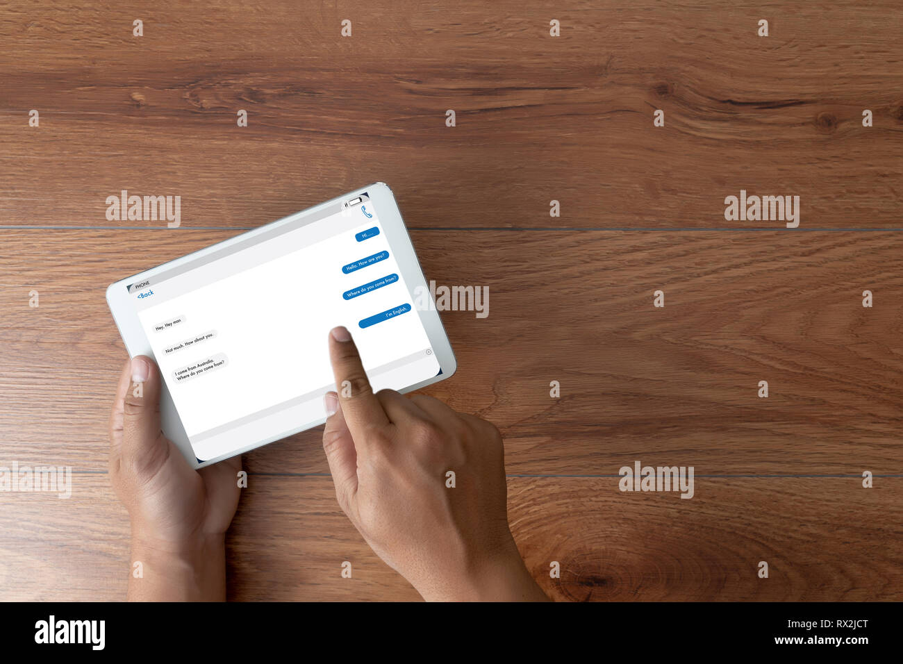 man using instant messaging app on mobile chatting with
