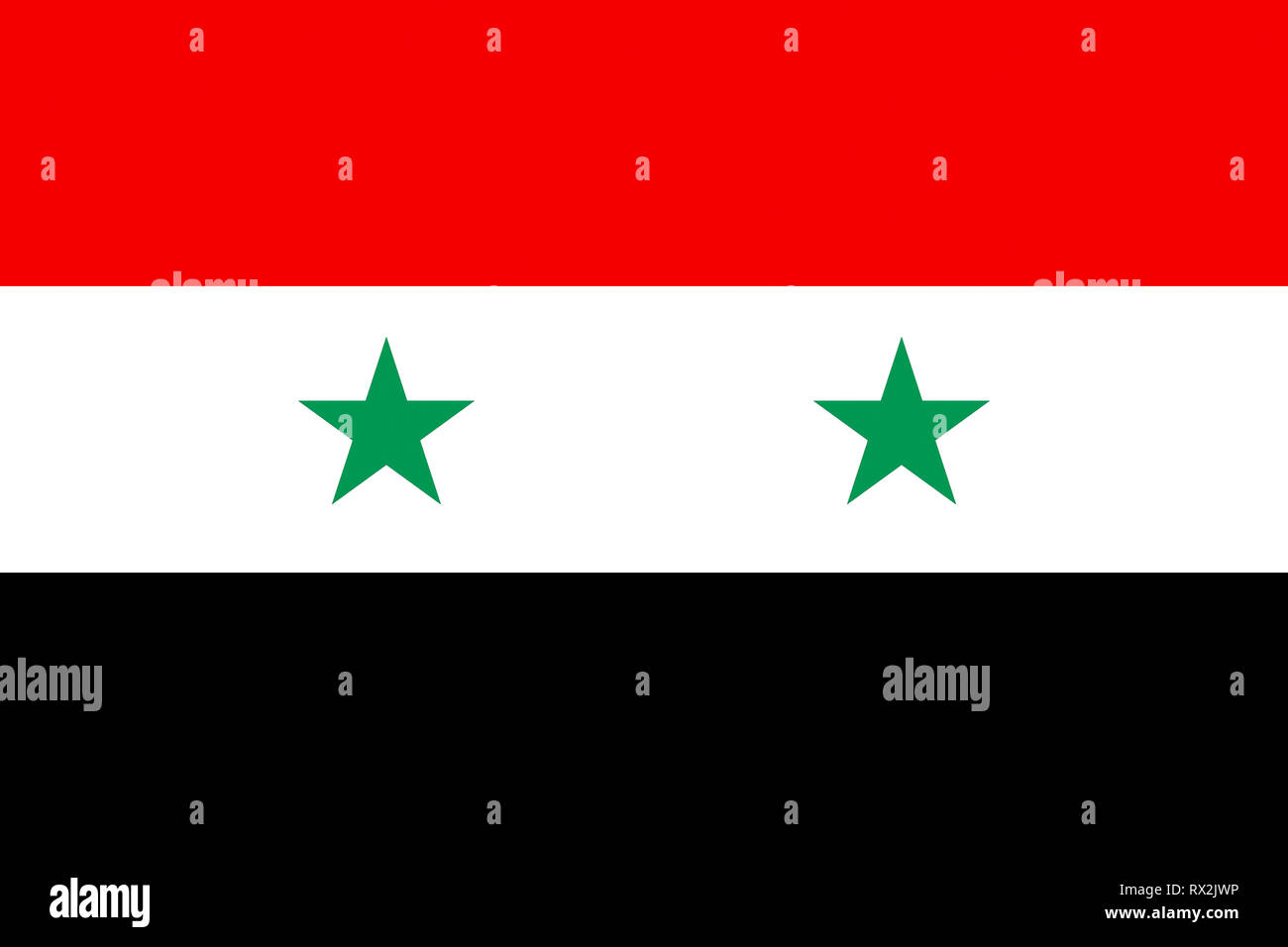 National flag of the Arabian Republic of Syria. - Stock Image