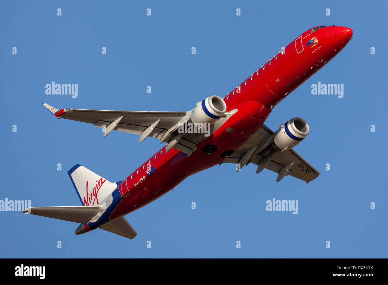 Virgin Blue Airlines (Virgin Australia Airlines) Embraer E-190 regional airliner taking off from Adelaide Airpo - Stock Image