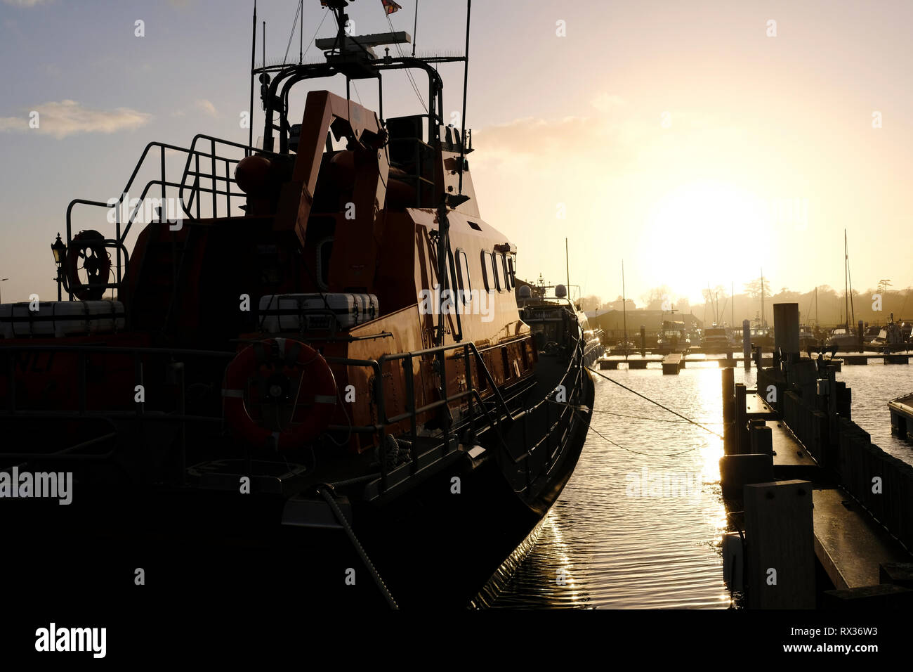 The Severn class Yarmouth RNLI Lifeboat moored in Yarmouth Marina on the Isle of Wight, UK. Stock Photo