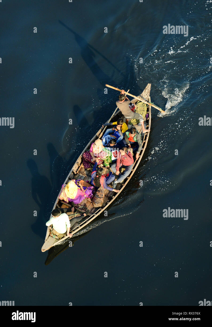 Looking down on a Wooden taxi boat on the Buriganga river in Dhaka, Bangladesh. - Stock Image