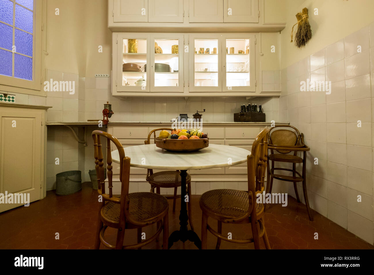 An eating area of a kitchen  in an apartment at Casa Mila in Barcelona, Spain. - Stock Image