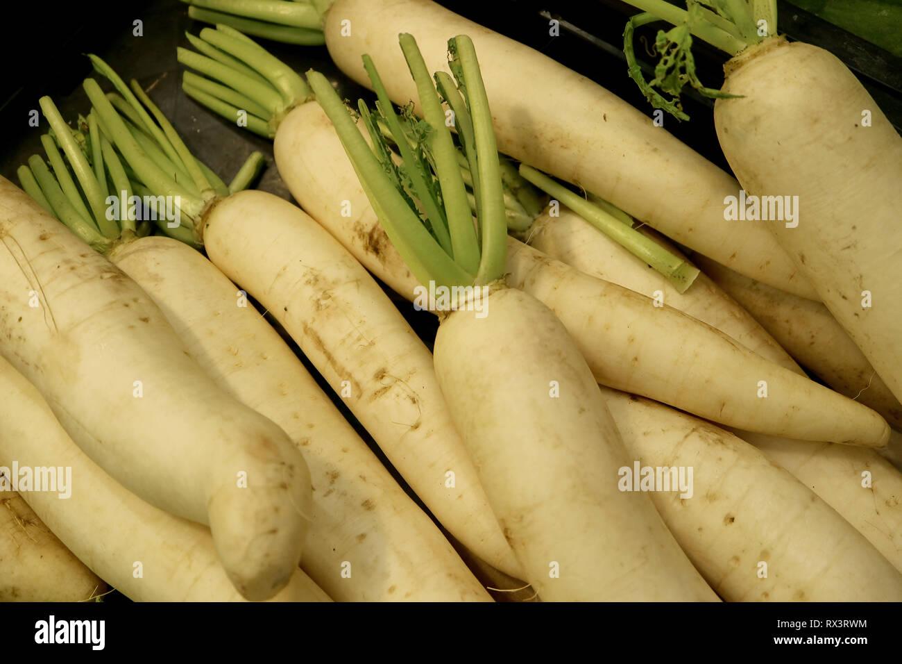 Heap of Fresh White Radish or Daikon Radish - Stock Image