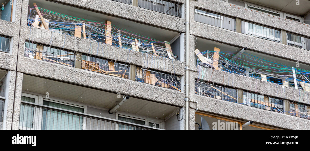 Balconies at Cables Wynd House is an A listed apartment block. The Brutalist style is an example of excellence in modernist urban design Stock Photo