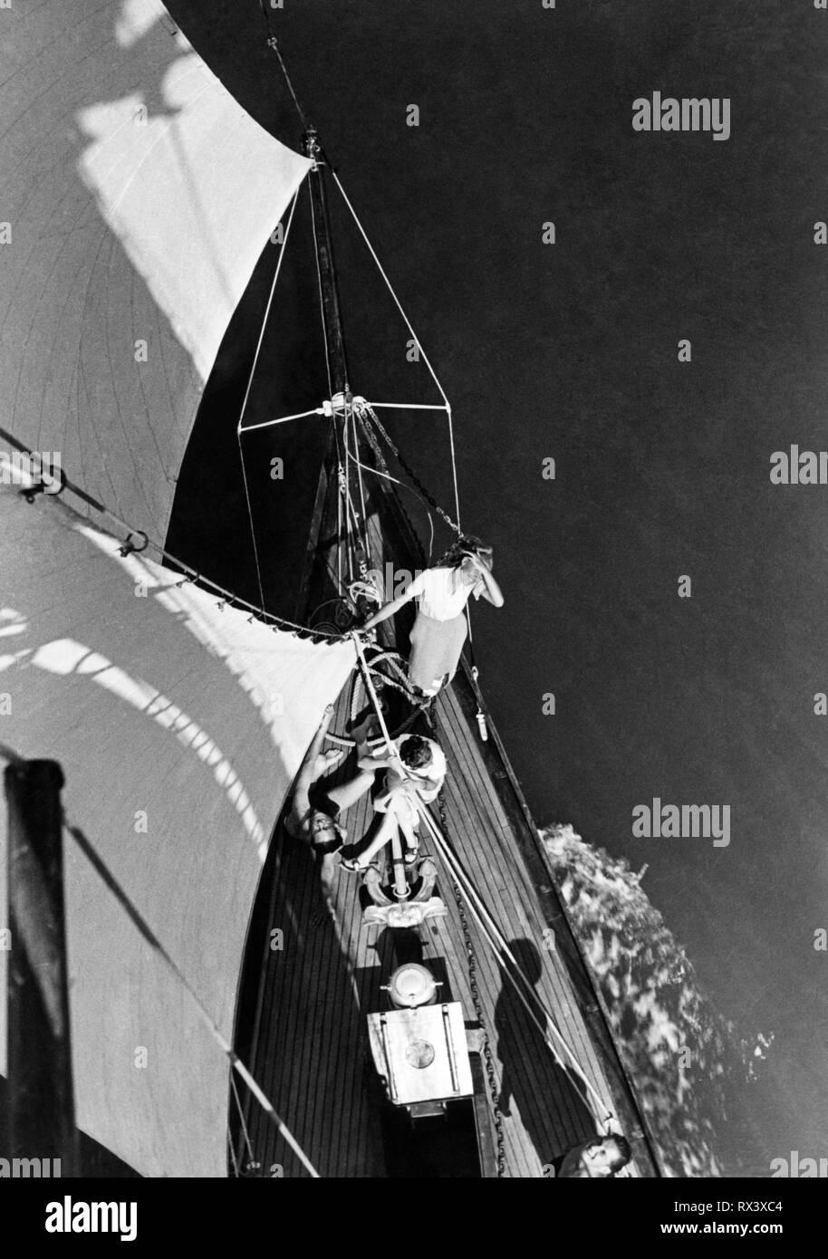 sailing boat, Venetian lagoon, veneto, italy 1955 - Stock Image
