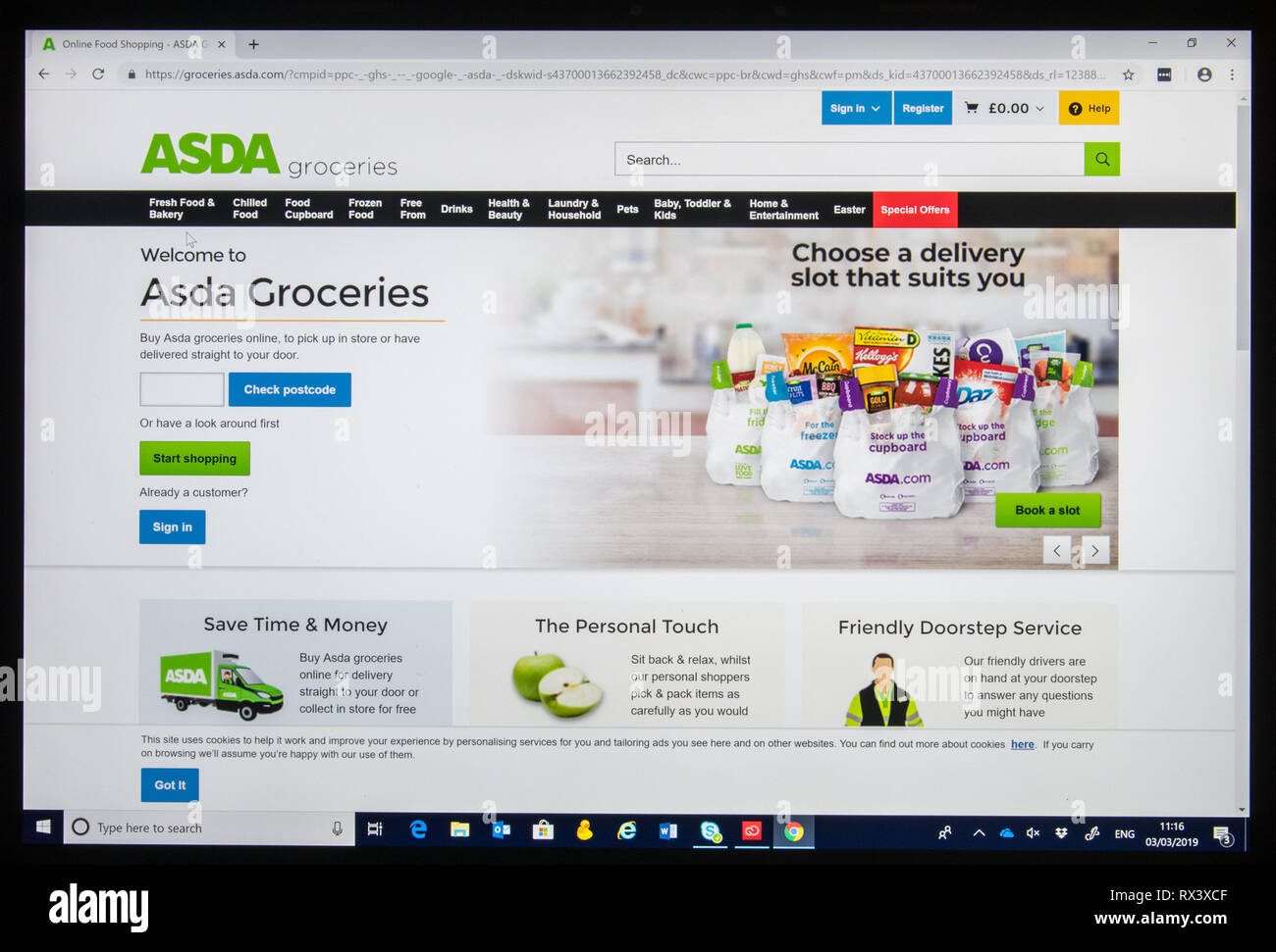 Asda Groceries online shop screen shot. - Stock Image
