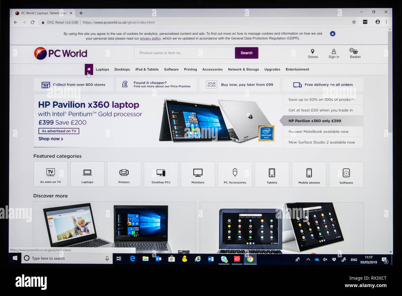 PC World online store screenshot showing laptops - Stock Image