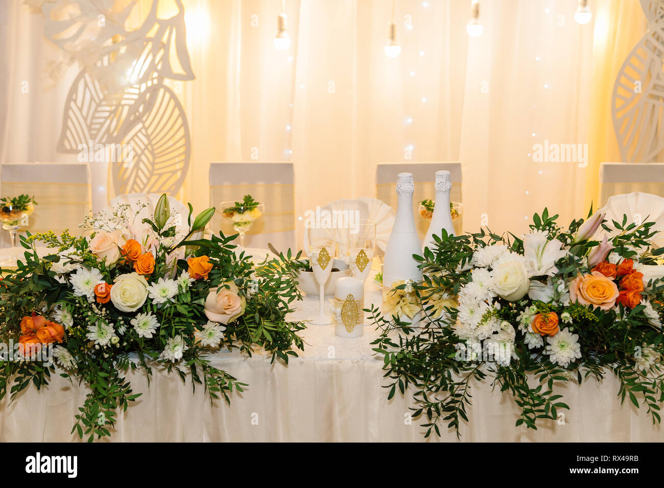 Wedding Decor. Table For The Newlyweds Outdoor. Wedding Reception. Elegant  Wedding Table Arrangement, Floral Decoration, Restaurant. Wedding In The