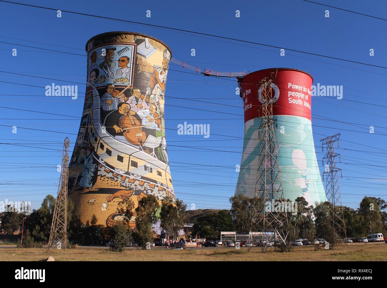 Twin cooling towers used for bungee jumping in Soweto