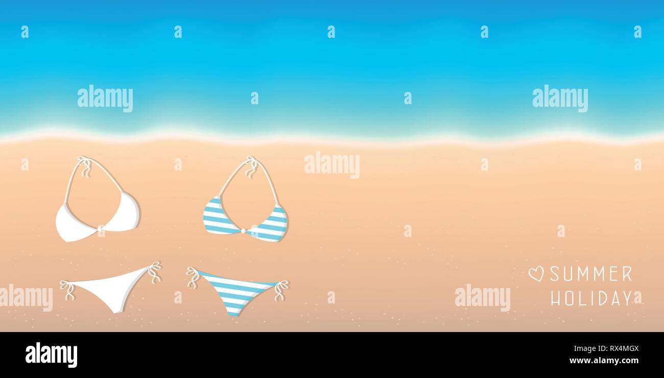 summer holiday background two bikinis on the beach with turquoise water vector illustration EPS10 - Stock Vector