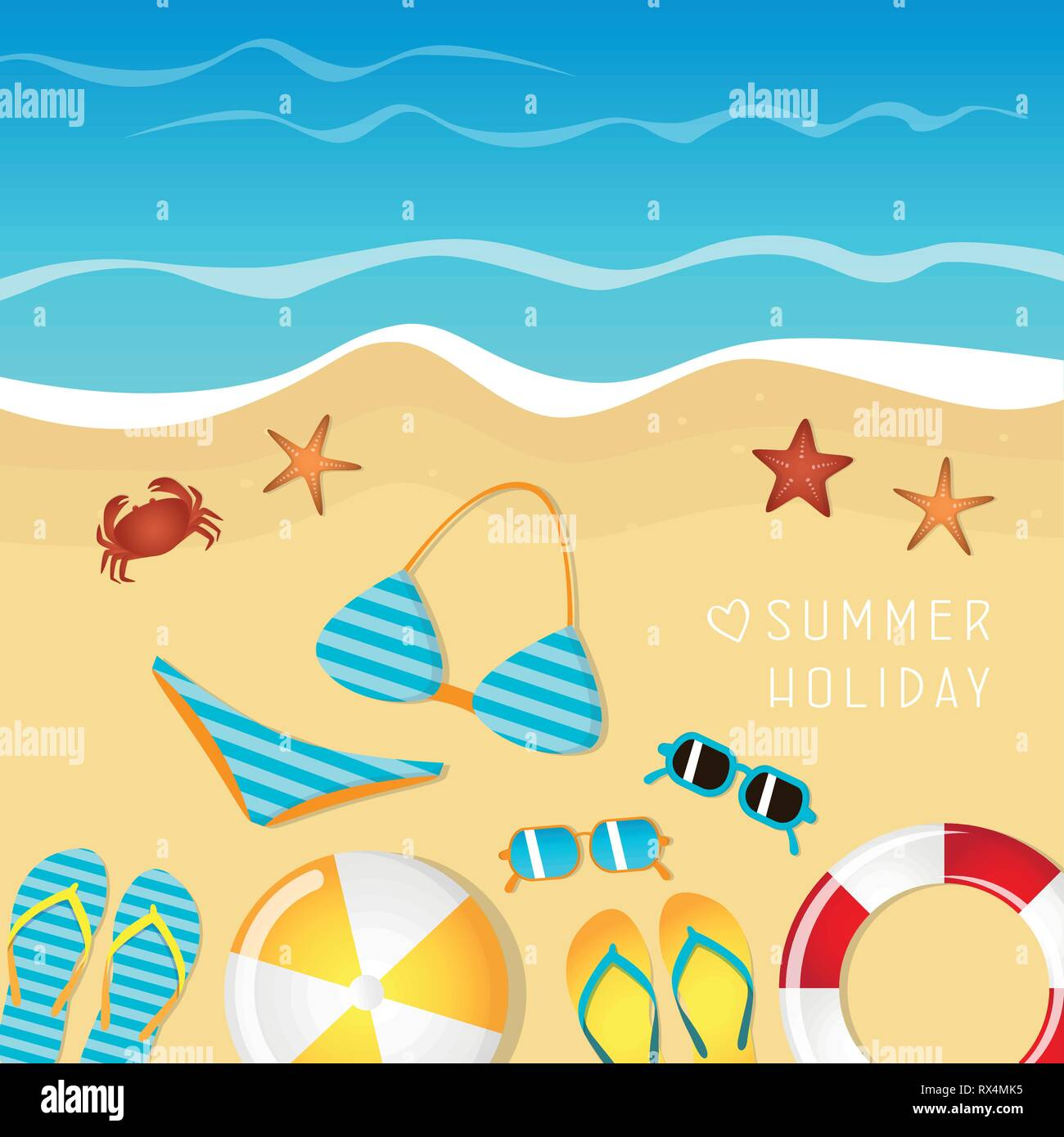 different beach utensils summer holiday background with flip flops sunglasses bikini crab and starfish vector illustration EPS10 - Stock Image