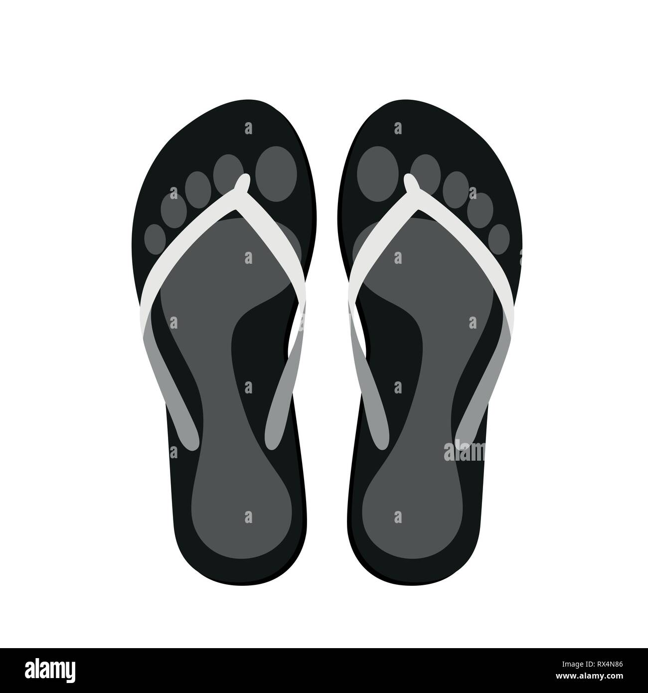 ac5042b1e652 flip flops with with footprints pictogram isolated on a white background  vector illustration EPS10 - Stock