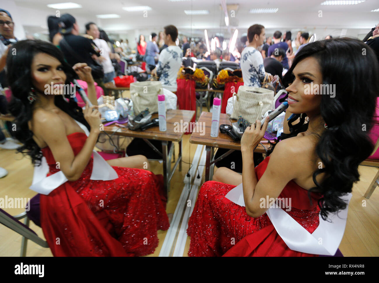 A beauty contestant from Peru, Adriana Jya seen preparing backstage