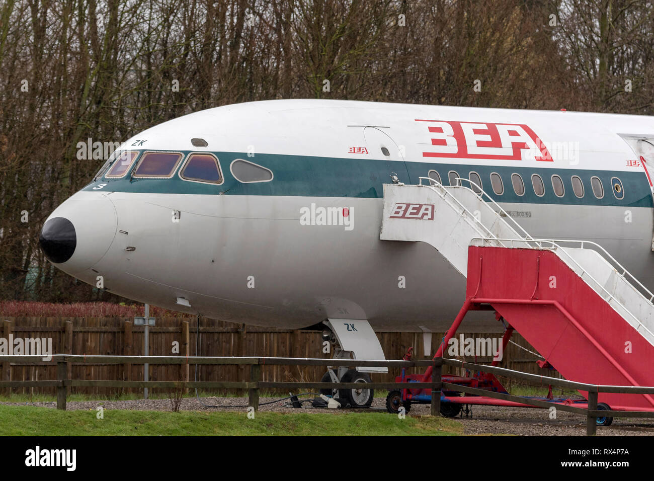 BEA Trident airliner on static display at Manchester airport visitor centre. - Stock Image