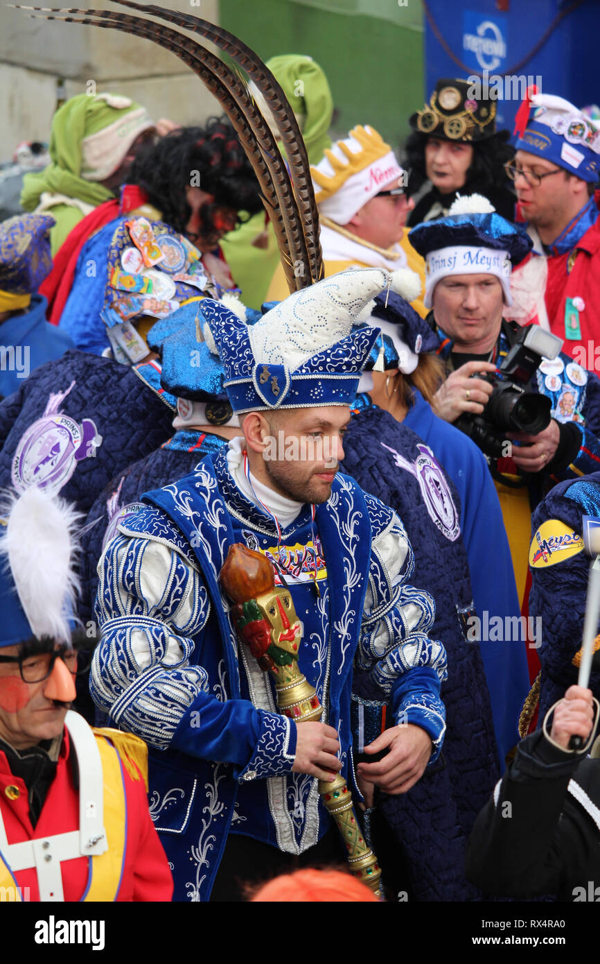 AALST, BELGIUM, 5 MARCH 2019: Carnival Prince Bart de Meyst, walking in the parade during Carnival celebartions in Aalst, East Flanders. - Stock Image