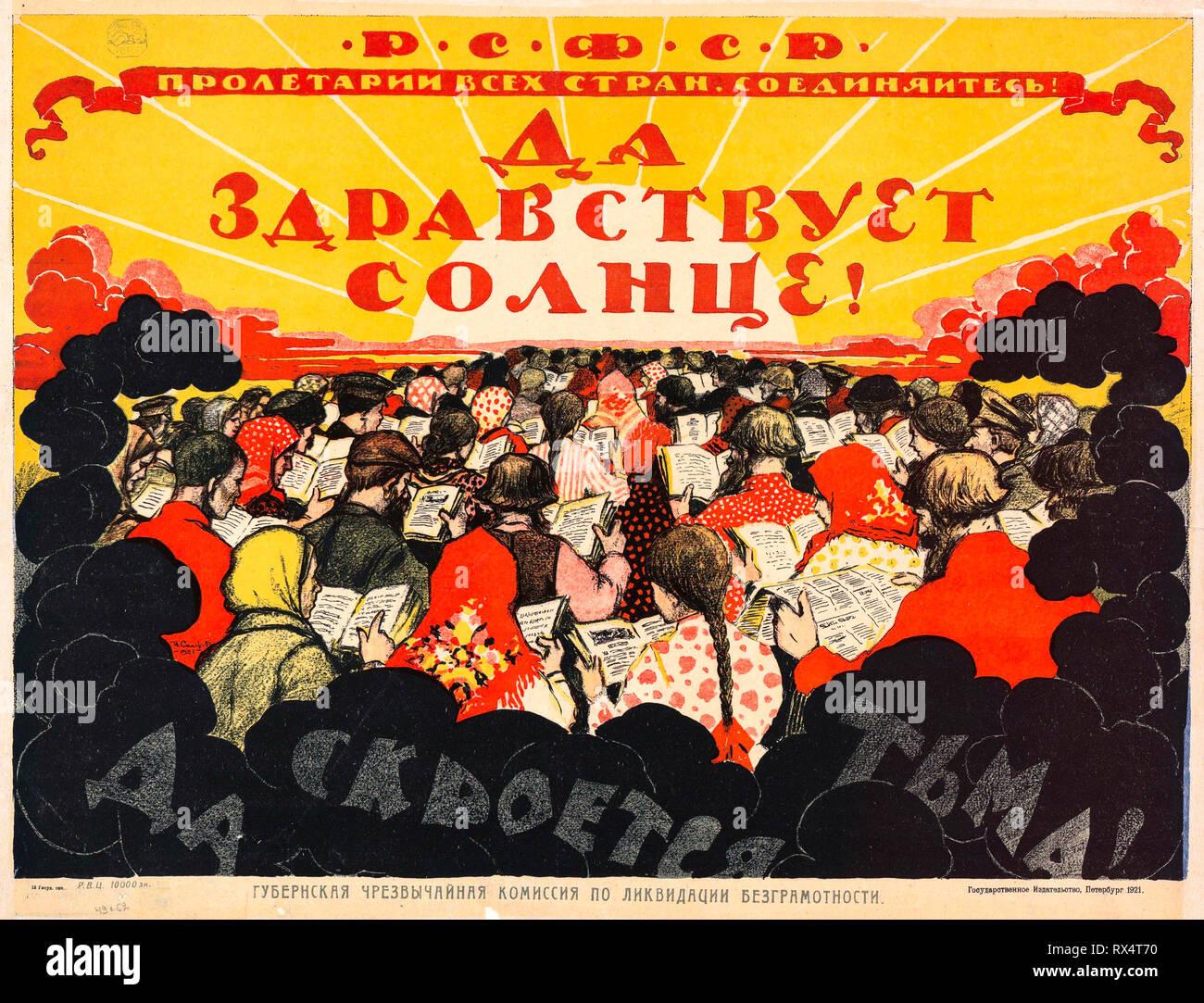 Soviet propaganda poster, Education and literacy, 1921 - Stock Image