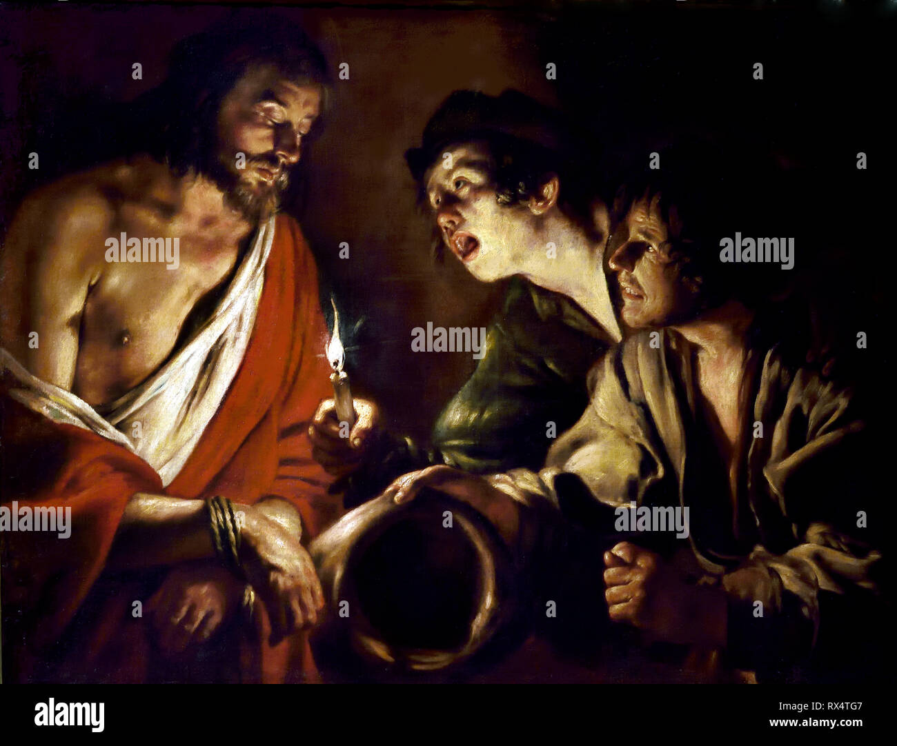 The Mocking of Christ 1626 by Giovanni SERODINE 1600 – 1630 Italy Italian ( Caravaggists, Style of Caravaggio) - Stock Image