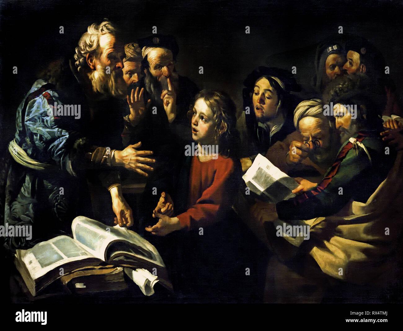 Christ among the Doctors - Scribes 1618, Dirck van Baburen (1595-1624) The Netherlands, Dutch, - Stock Image