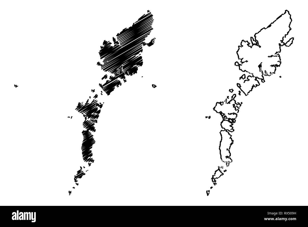 Comhairle nan Eilean Siar (United Kingdom, Scotland, Local government in Scotland) map vector illustration, scribble sketch Na h-Eileanan Siar ( Outer - Stock Vector