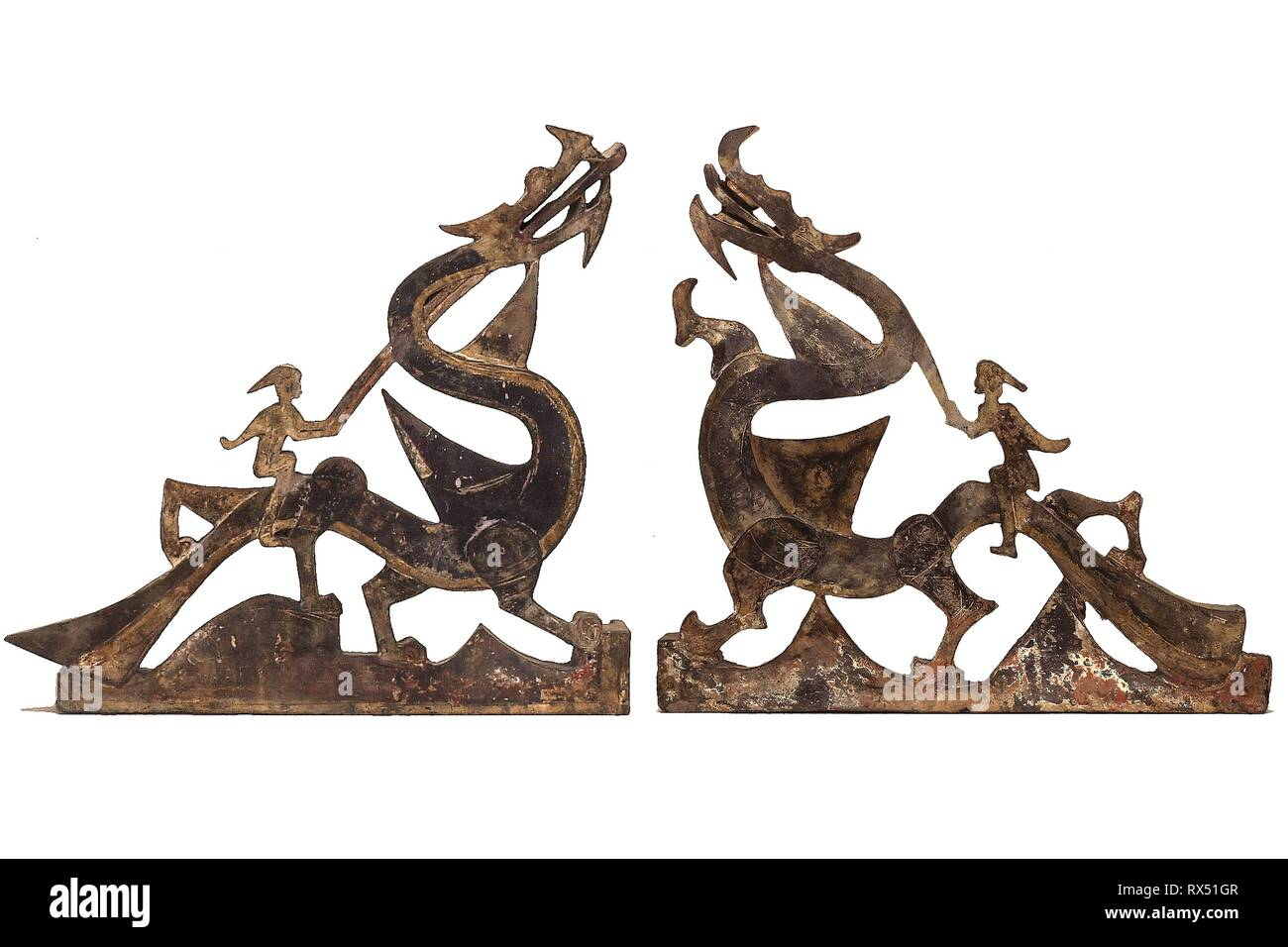 Immortals Riding Dragons: Sections of a Tomb Pediment. China; probably from Henan province. Date: 206 AD-220 AD. Dimensions: . Gray earthenware with traces of slip and polychrome pigments. Origin: China. Museum: The Chicago Art Institute. - Stock Image