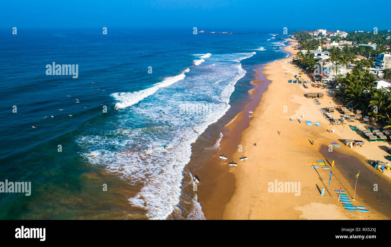 Aerial. Hikkaduwa beach. Sri Lanka. Stock Photo