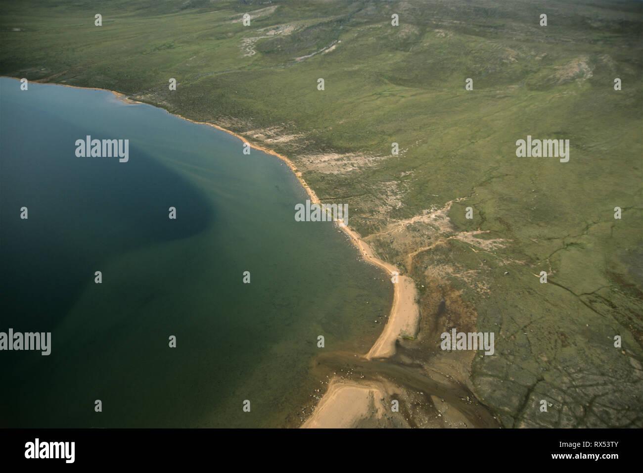 Aerial view, Ukkusiksalik National Park, Wager Bay, Nunuvut, Canada - Stock Image