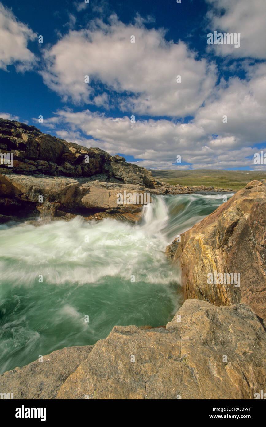 Waterfall on river emptying into western end of Wager Bay, Ukkusiksalik National Park, Nunavut, Canada - Stock Image