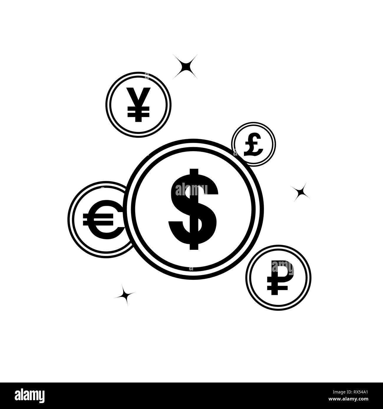 Currency symbols in an abstract flat design - Stock Vector