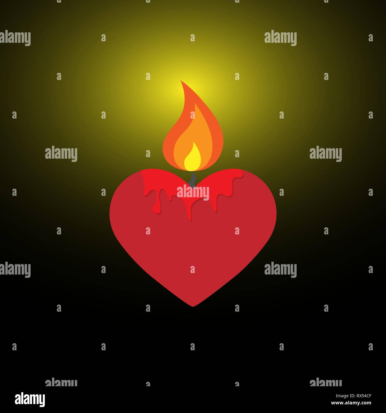Burning candle in the form of a heart illuminates the surrounding space - Stock Vector