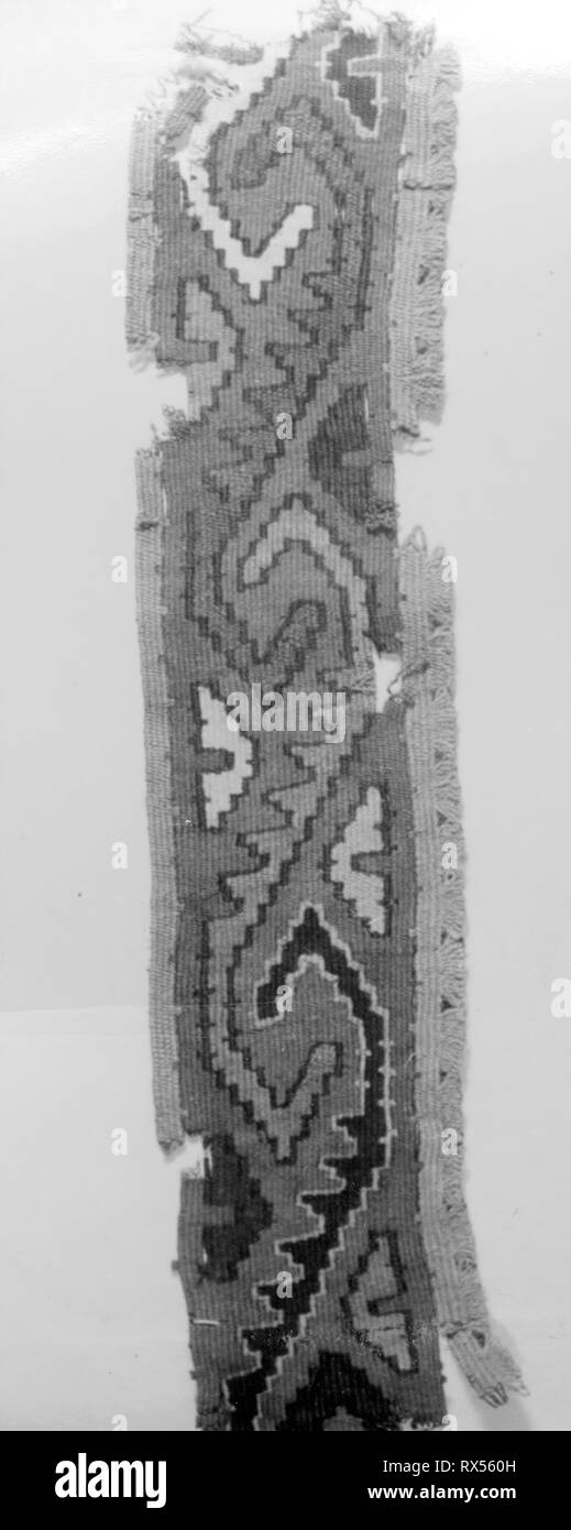 Fragment (Border). Probably central coast, Peru. Date: 1000-1476. Dimensions: 58.4 x 7.6 cm (23 x 3 in.). Slit tapestry with weft fringe. Origin: Peru. Museum: The Chicago Art Institute. - Stock Image