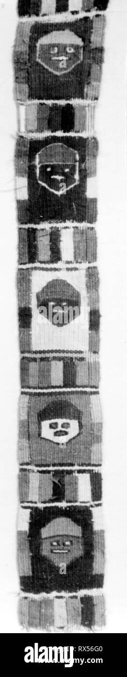 Band Fragment. Possibly north or central coast, Peru. Date: 1000-1476. Dimensions: 33.7 x 4.1 cm (13 1/4 x 1 5/8 in.). Slit tapestry. Origin: Peru. Museum: The Chicago Art Institute. Author: Tiwanaku. - Stock Image
