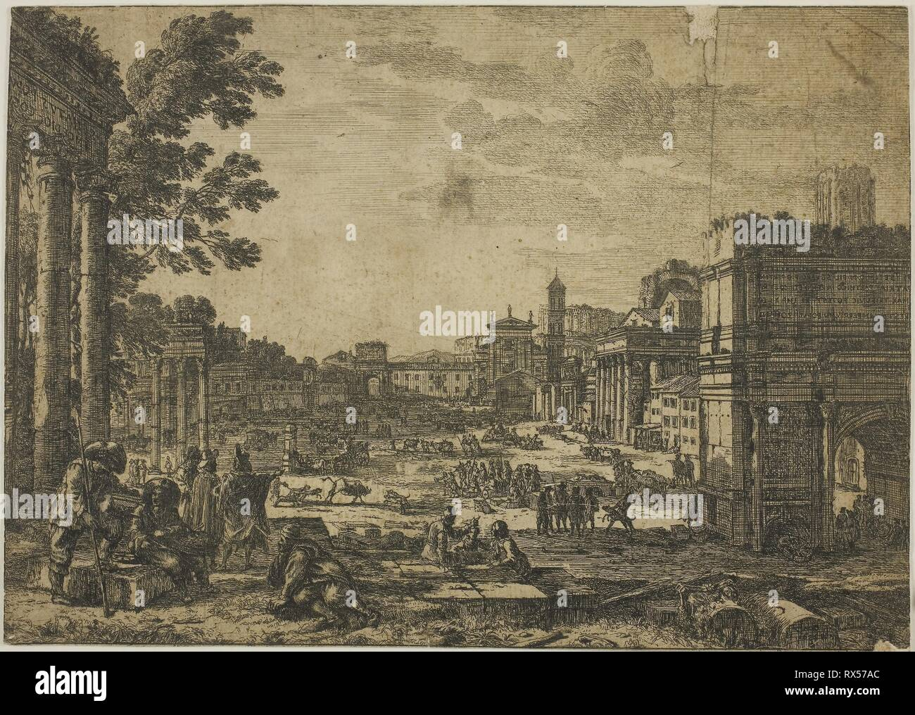 The Roman Forum. Claude Lorrain; French, 1600-1682. Date: 1636. Dimensions: 181 × 256 mm (image/sheet, cut within platemark). Etching on ivory laid paper. Origin: France. Museum: The Chicago Art Institute. - Stock Image