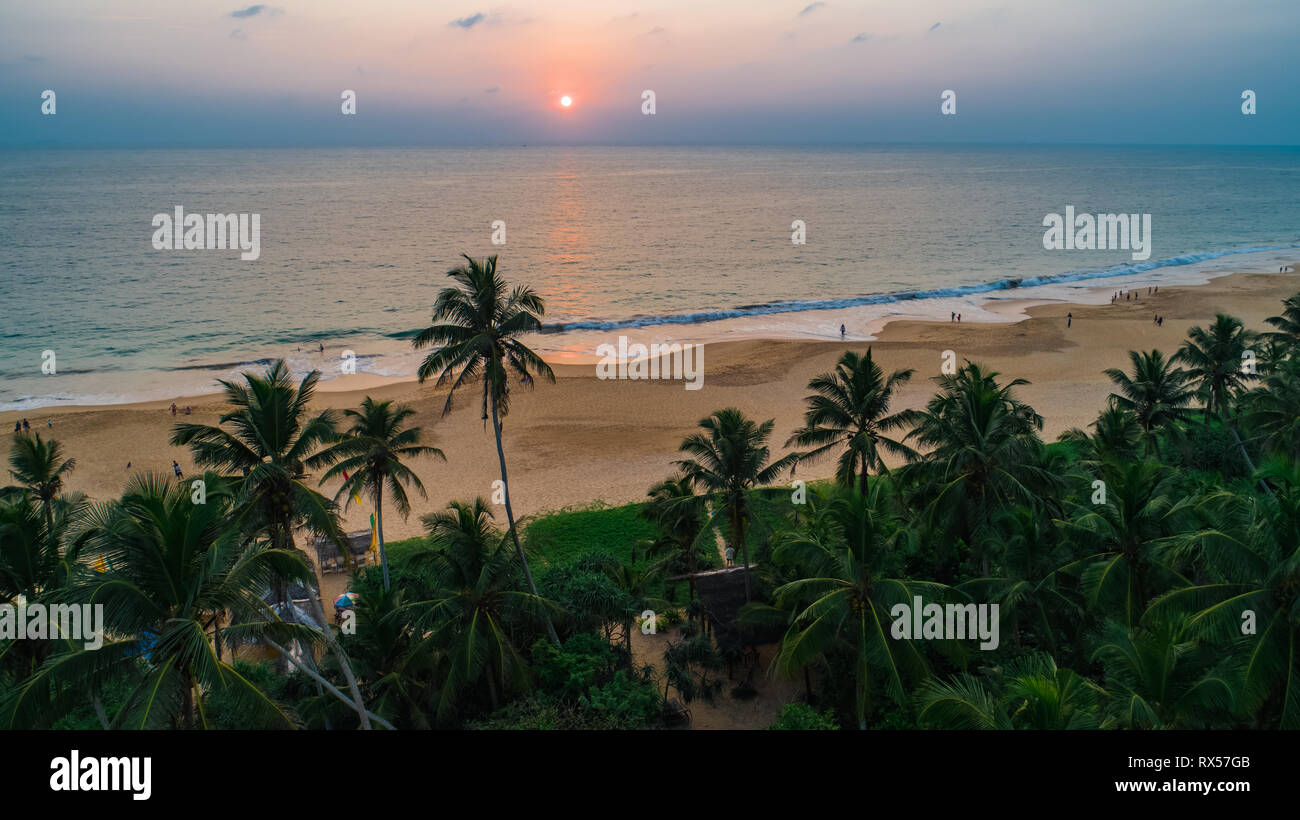 Aerial. Hikkaduwa beach. Sri Lanka. Stock Photo