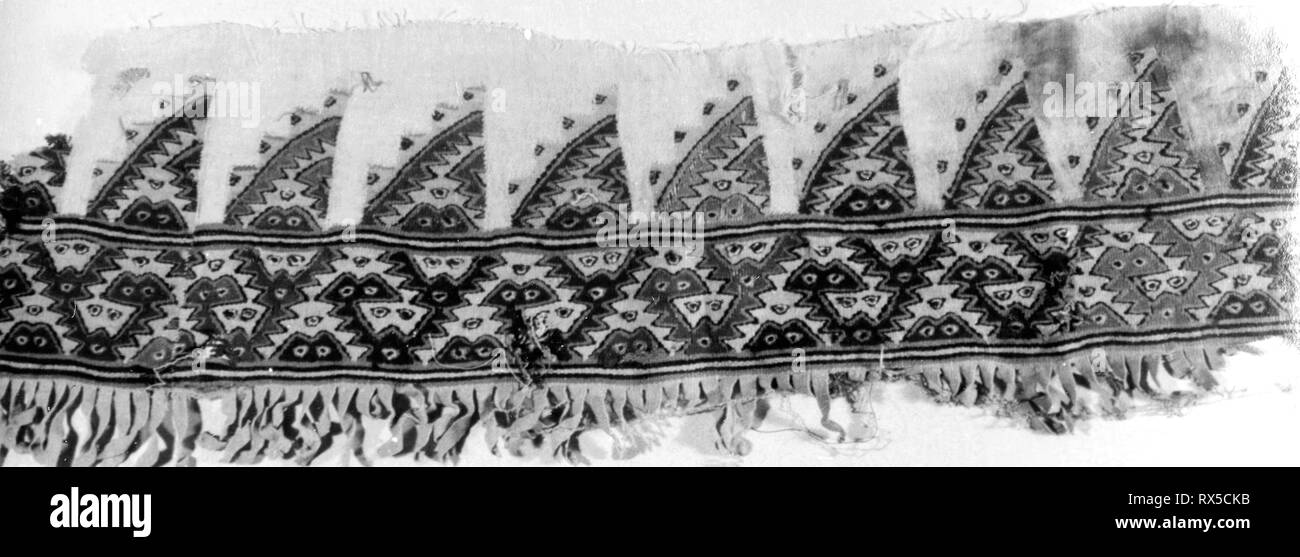 Fragment (Border). Possibly Chancay; Peru, Possibly central coast. Date: 1000-1476. Dimensions: 71.1 x 20.3 cm (28 x 8 in.). Cotton and wool; slit tapestry on plain woven cloth. Origin: Peru. Museum: The Chicago Art Institute. - Stock Image