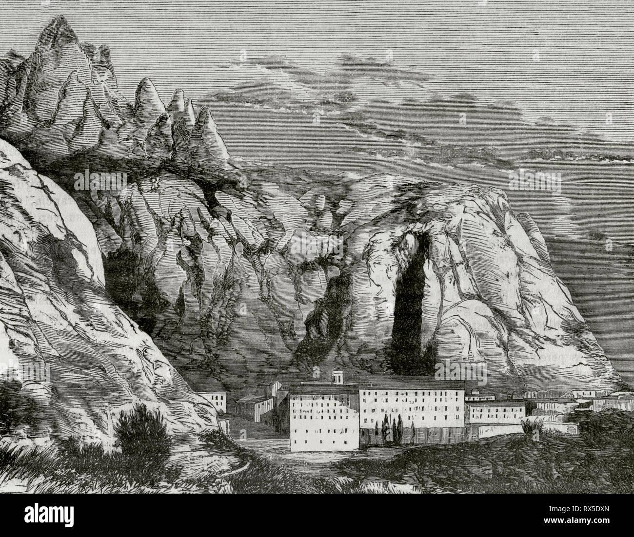 Abbey of Montserrat. Panoramic view. Province of Barcelona, Catalonia, Spain. Engraving. Crónica General de España, Historia Ilustrada y Descriptiva de sus Provincias. Catalonia. 1866. Stock Photo