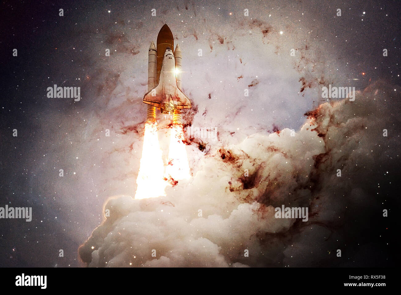Space shuttle taking off on a mission. Deep space. Beauty of endless universe. Elements of this image furnished by NASA - Stock Image