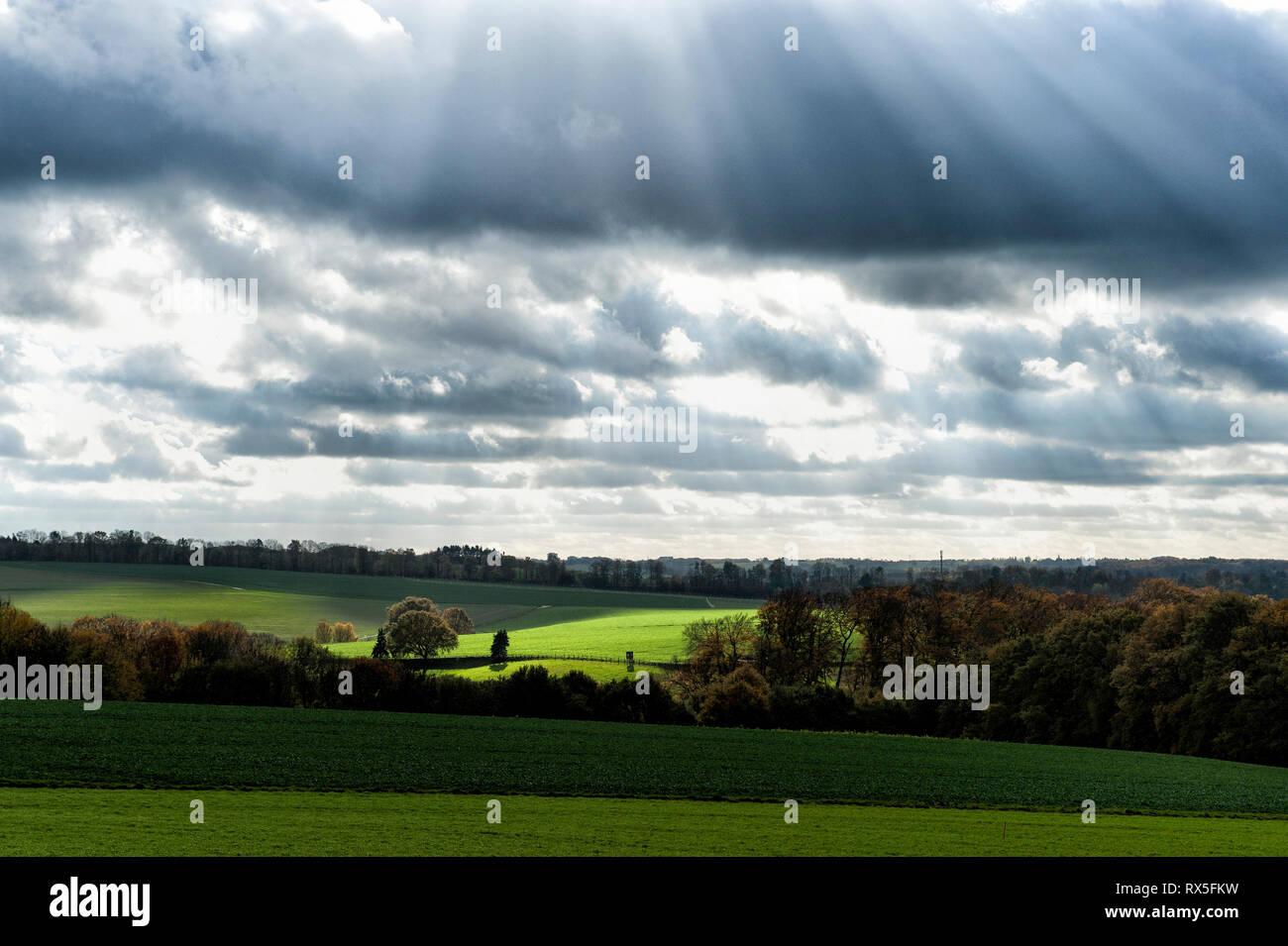 Laendliches Ruhrgebiet mit Wiesen im Herbst bei interessanter Lichtstimmung in Muelheim Ruhr. Stock Photo