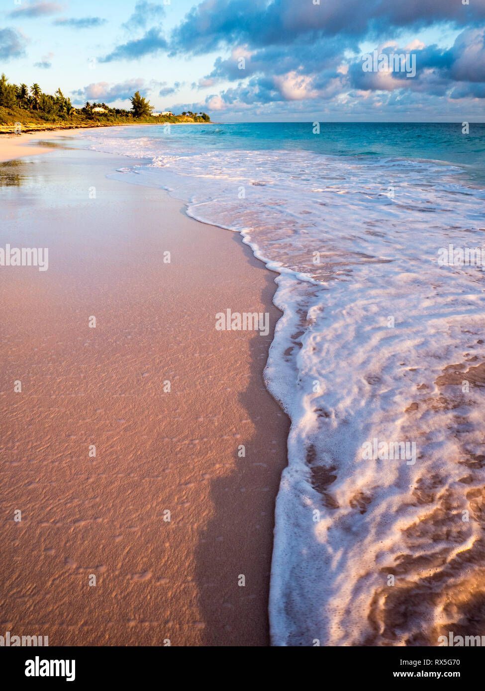 Surf on Tropical Beach Dawn, Governors Harbour, Eleuthera, The Bahamas, The Caribbean. - Stock Image