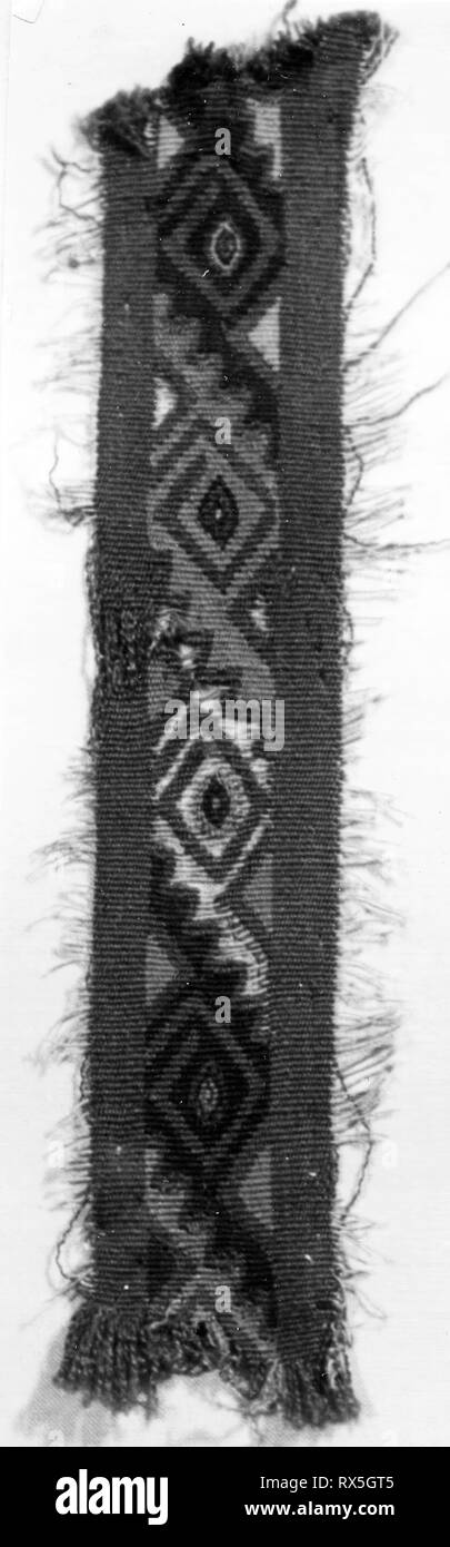 Fragment. Probably central coast, Peru. Date: 1000-1476. Dimensions: 17.8 x 3.2 cm (7 x 1 1/4 in.). Slit tapestry. Origin: Peru. Museum: The Chicago Art Institute. - Stock Image