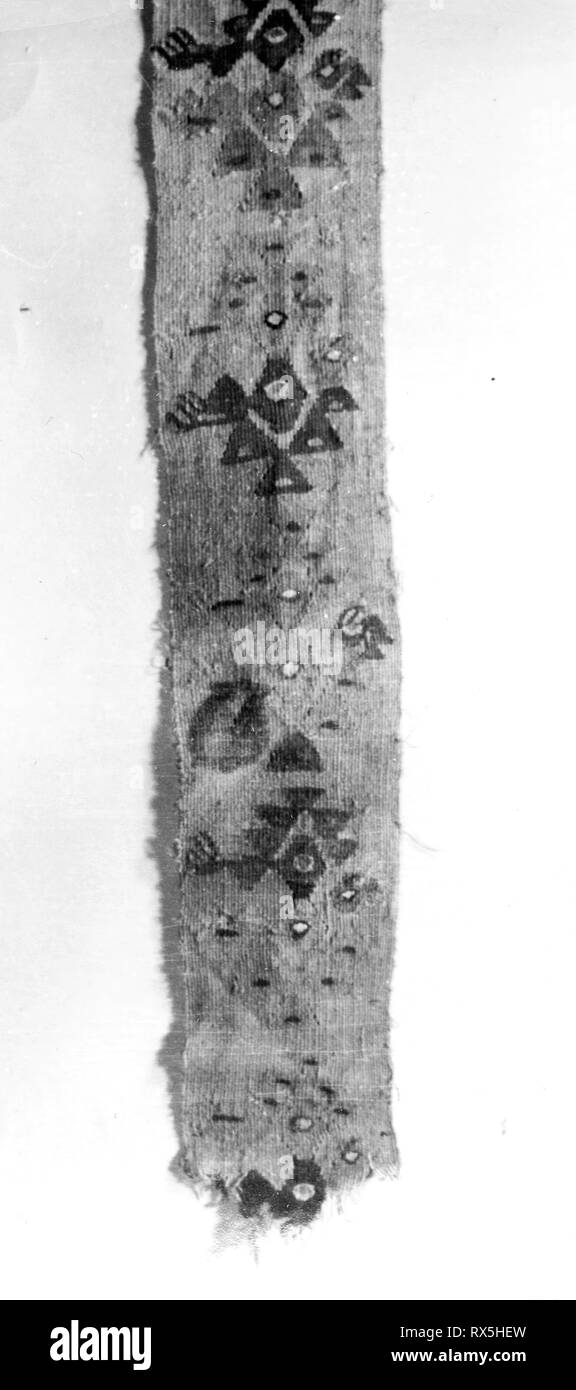 Fragment (Band). Probably central coast, Peru. Date: 1000-1476. Dimensions: 50.8 x 8.9 cm  (20 x 3 1/2 in.). Slit tapestry. Origin: Peru. Museum: The Chicago Art Institute. - Stock Image