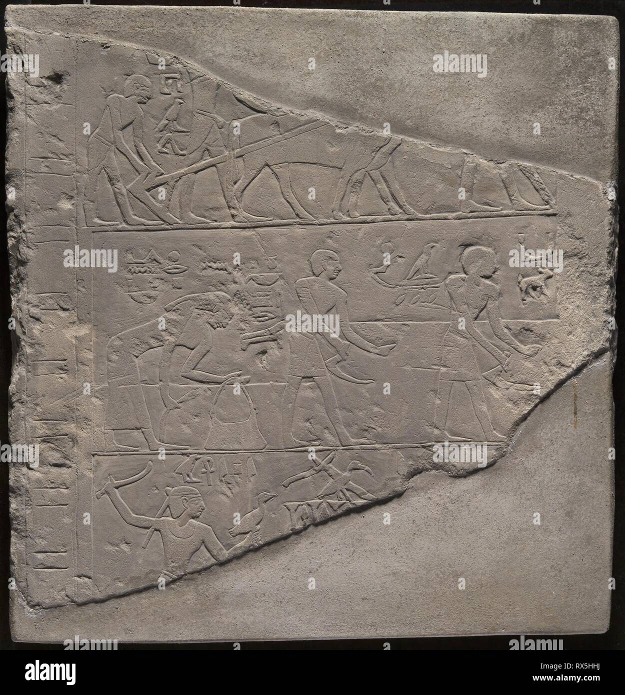 Fragment of a Stela Depicting Plowing, Harvesting, and
